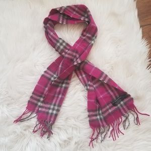 Authentic BURBERRY 100% Cashmere Pink Plaid Scarf